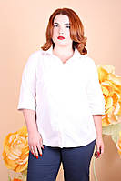 Рубашка женская большого размера Коттон 043,  белая рубашка женская