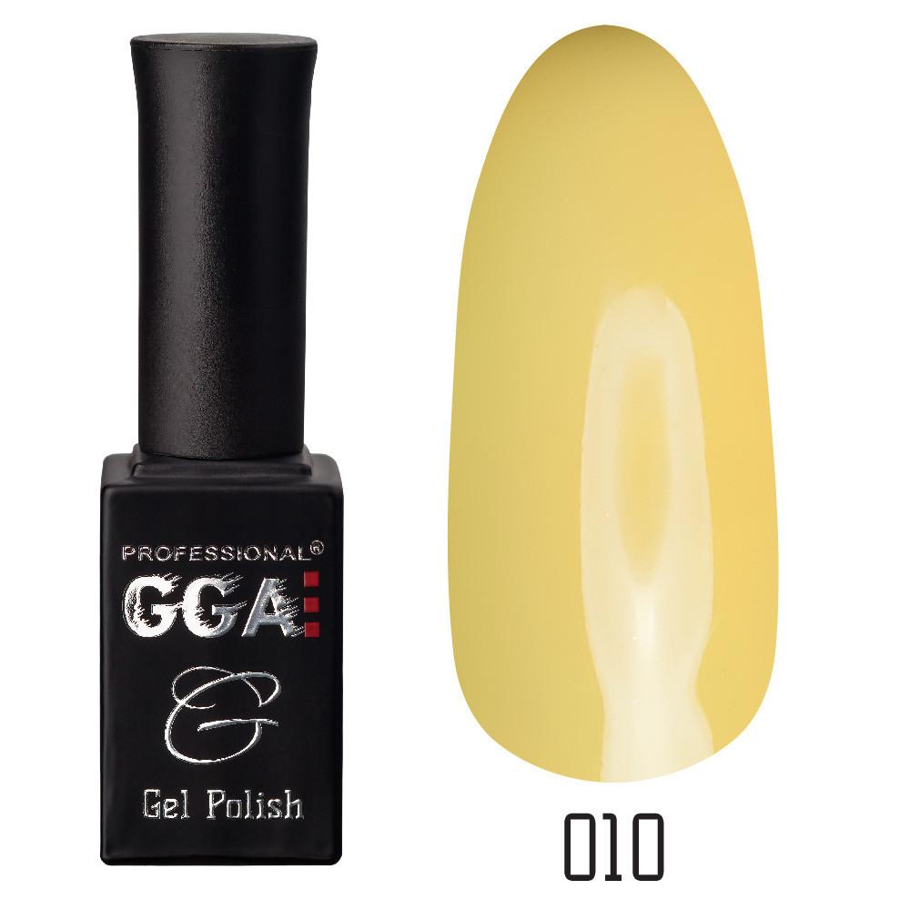 Гель-лак GGA, №010 (светло-оливковый, эмаль)  , 10 мл