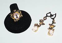 Серебряный гарнитур ручной работы (серьги и кольцо) 925 пробы с натуральным розовым кварцем. Размер кольца 17