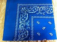 Синяя бандана - платок летняя из хлопка с рисунком