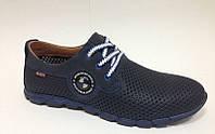 Мужские весна-лето туфли перфорированная натуральная кожа синие 0001БУМ