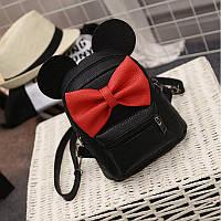 Модный стильный нежный маленький рюкзак с ушками и с бантом ,черный!!!