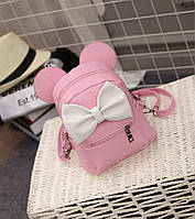 Модный стильный нежный маленький рюкзак с ушками и с бантом , розовый !