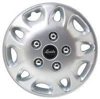 Колпаки на колеса диски для дисков R 12 серые Мекадор (с хромированными болтами) колпак