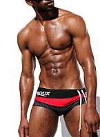 Мужские плавки для пляжа черного цвета с красным