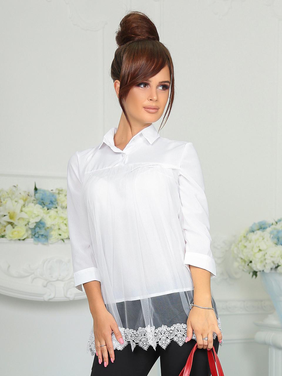 Деловая белая Блузка Диана