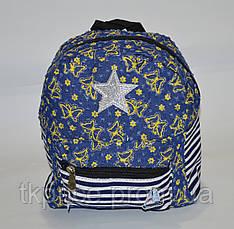 Стильный джинсовый рюкзак небольшого размера, фото 2