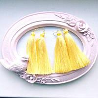 Серьги женские Кисточки желтые,магазин бижутерии