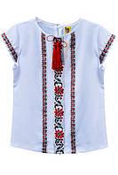 Белая блузка вышиванка с коротким рукавом Наталка на девочку Размеры 122 - 164