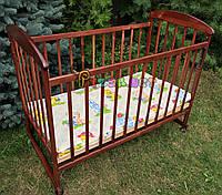 Кровать детская Наталка ольха темная  (колеса, качалка, опускание борта), фото 1