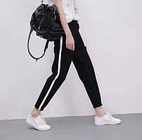 Женские ультрамодные черные брюки с белой полоской 6П2