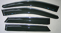 Hyundai IX35- ветровики дверей с хром полоской ASP передние и задние/ дефлекторы/ sunvisors chrome
