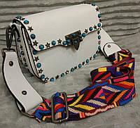 Женская яркая стильная маленькая сумочка с ярким плечевым ремнем. Цвета в ассортименте. Материал: эко-кожа.