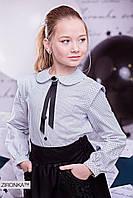 Блузка школьная для девочки  в горошек с брошью