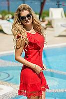 Летнее комбинированное платье с оборкой из фатина и кружева, разные расцветки, стандартные размеры