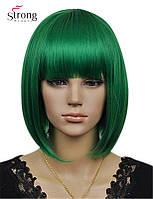 Новинка! Женский стильный парик, каре боб с челкой, цвет - темно-зеленый, парик для вечеринок