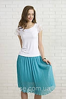 Летняя блуза белого цвета из вискозы с коротким кружевным рукавом. Модель 308 Mirabelle