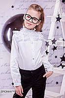 Блузка школьная с кружевом для девочки 3596-1