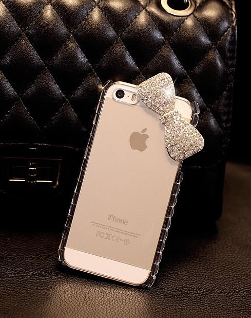 Чехол для iPhone 5 5S бант с кристаллами