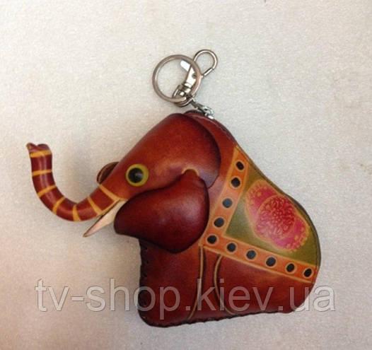 Кошелек -ключница из кожи Слон 12х17 см