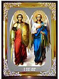 Православная икона Михаила и Гавриила фон под серебро, фото 2