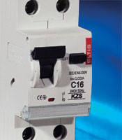 Дифавтомат KZS 2P 10,16,20,25,32,40А, дифференциальный автоматический выключатель