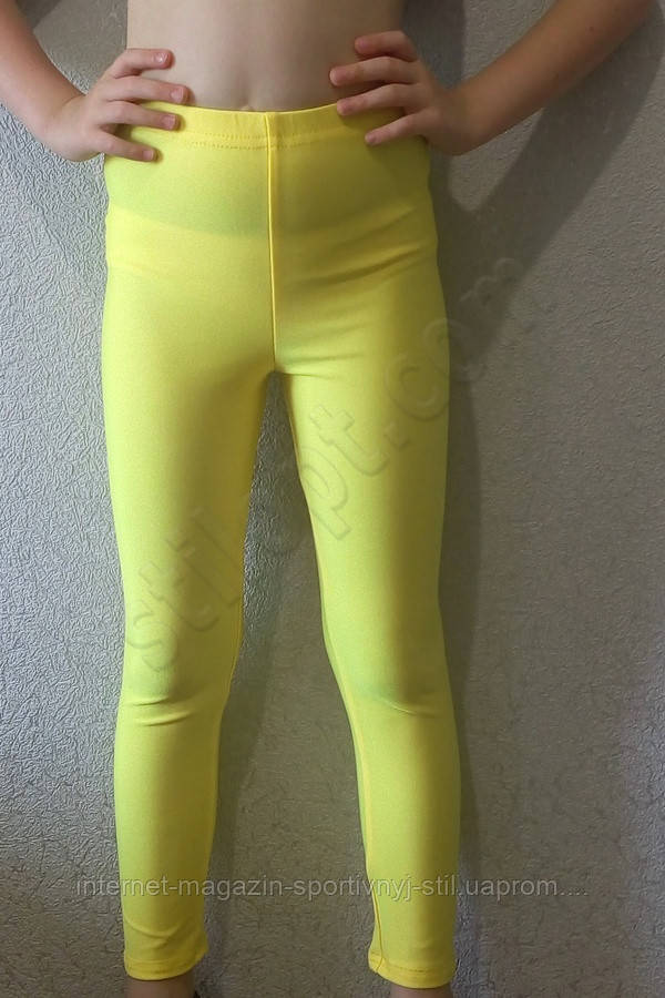 Лосины подросток  эластиковые (бифлекс) желтые