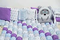Комплект для новонародженого. Кокон, захист,постільна білизна., фото 2