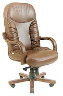 Кресло Буфорд Wood, подлокотник Люкс кожа Люкс комбинированная коричневая