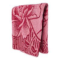Красное махровое банное полотенце Роспись