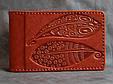 """Визитница карманная кожаная ручной работы """"Осень"""" (Guk). Цвет оранжевый, фото 9"""