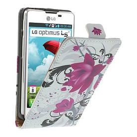 """Чехол книжка для  LG Optimus L5 II E460 / E450 """"Цветок лотоса"""""""