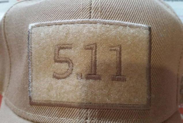 Бейсболка тактическая 5.11 с Velcro панелью в цвете песок, фото 2