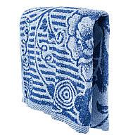 Синие махровое банное полотенце Роспись