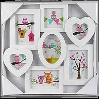 Детская мультирамка на 7 фотографий с окошками разной формы
