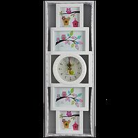 Вертикальная детская мультирамка на 4 фотографии с часами