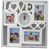 Мультирамка с надписью love на 4 фото с часами