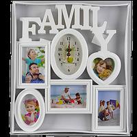 Семейная фоторамка на 5 фото с овальными часами