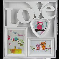 Детская мультирамка на 3 фотографии c надписью love