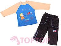 Костюм трикотажный с вельветовыми штанами, синий (1-2 года)