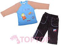 Костюм трикотажный с вельветовыми штанами, голубой (1-2 года)
