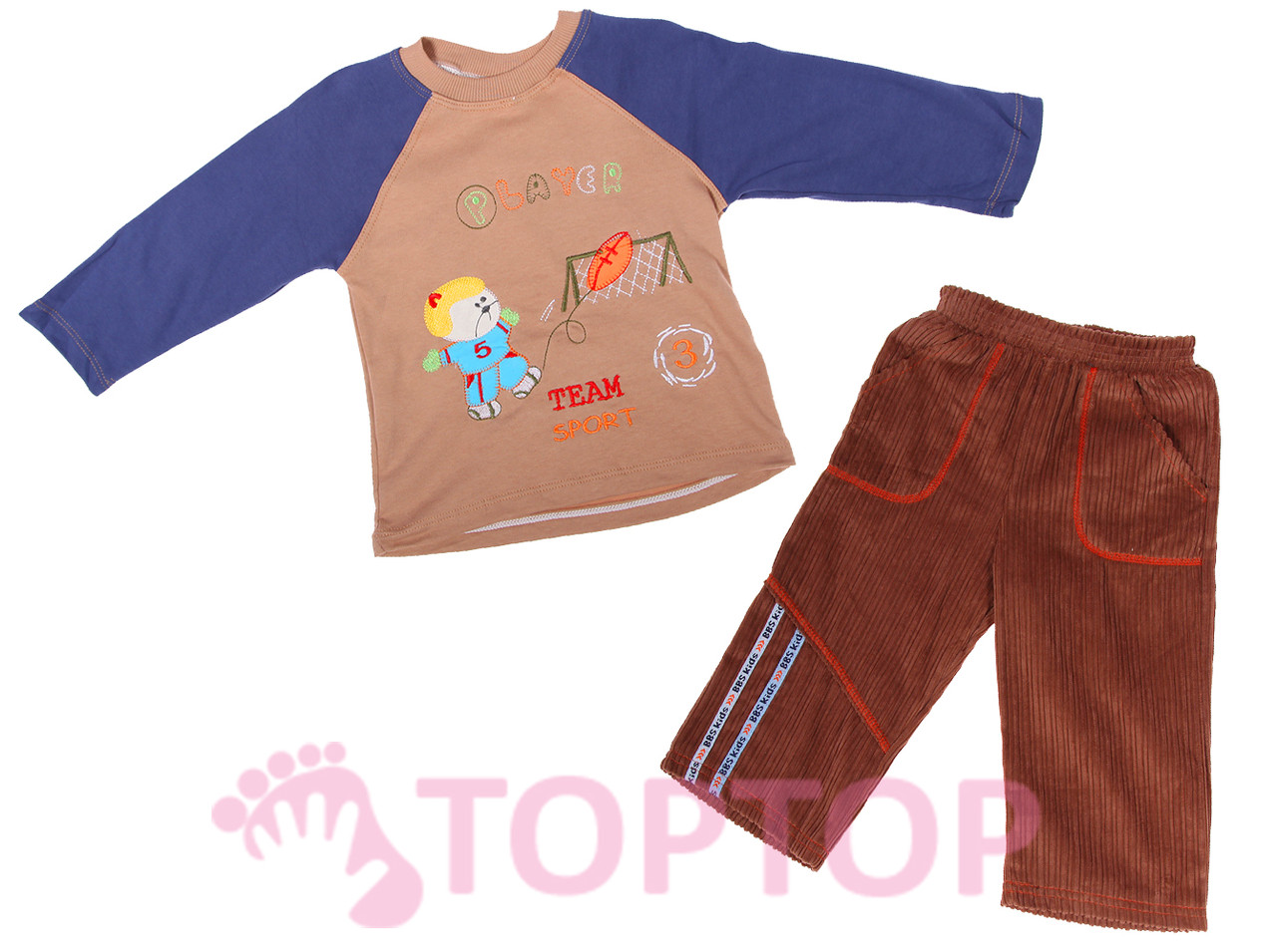 Костюм трикотажный с вельветовыми штанами, кофейный (1-2 года)