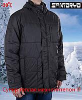 Зимняя мужская куртка-пуховик с капюшоном  Santoryo-7148 ,с оливковым отливом.