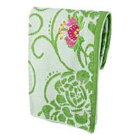 Зеленое махровое банное полотенце Мальва