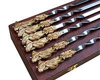 Подарочный набор шампуров Золотая Рыбка в кейсе для рыбаков ручная работа 6шт