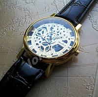 Кварцевые мужские часы скелетоны McyKcy Gold Black stripe