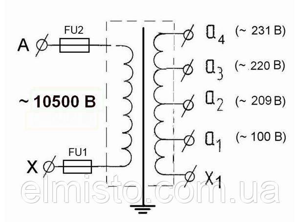 Принципиальная электрическая схема трансформатора и схема подключения ОСВЛп