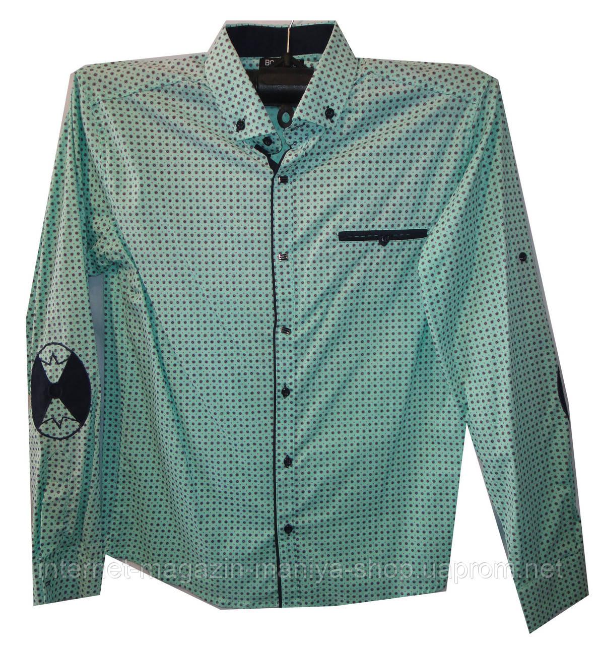 Рубашка мужская мелкий принт локотки карман трансформер (деми)
