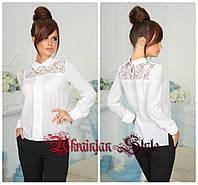 Женская нарядная  белая блуза с белым кружевом.