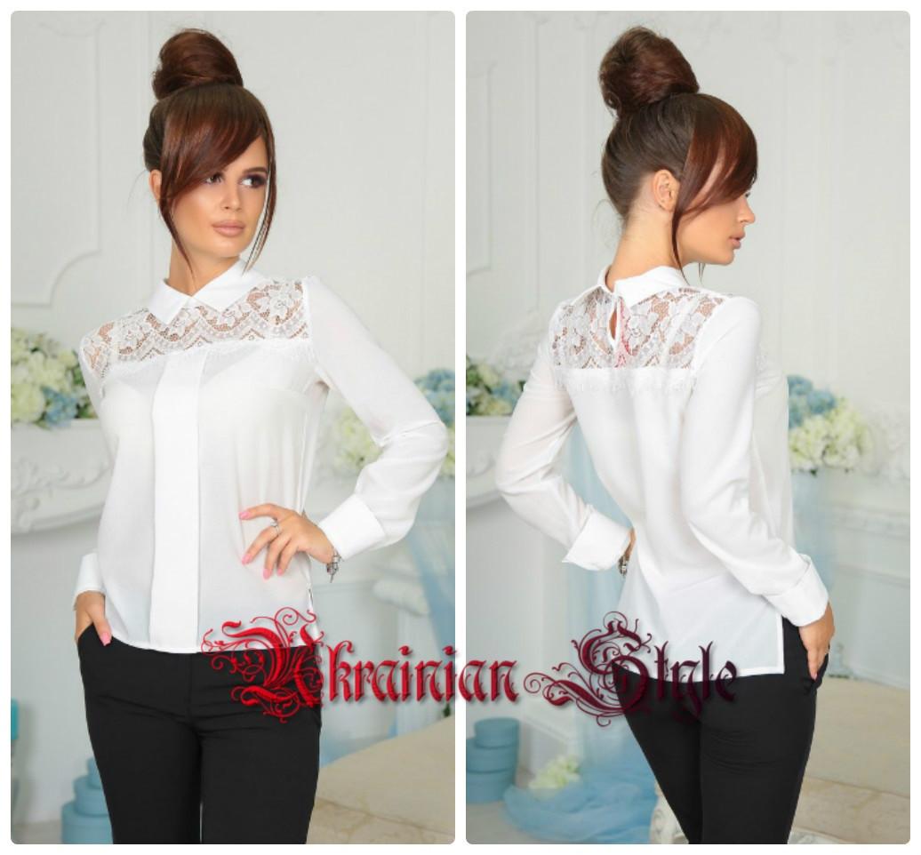 4cb7342c22a Женская нарядная белая блуза с белым кружевом.  продажа